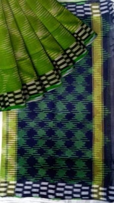 Green & Blue Ikkat Cotton Saree-yespoho