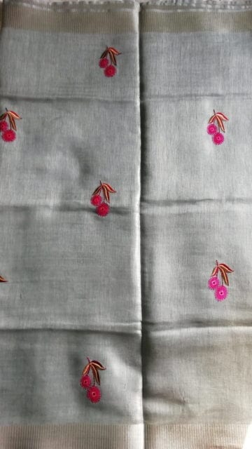 Yespoho Silver Tissue Linen Saree With An Embroidery