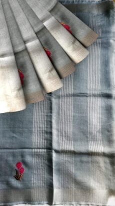 Silver Tissue Linen Saree With An Embroidery-yespoho