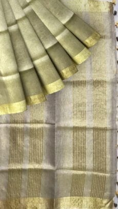Cream & Gold Tissue Linen Saree with Dovi border-yespoho