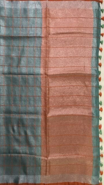 Orange Sea Green checked Tissue Linen Saree