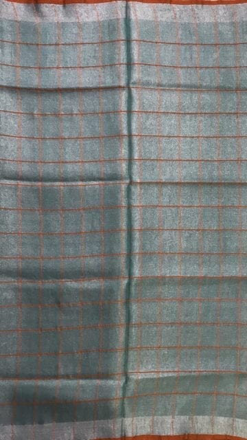 Yespoho Sea Green checked Tissue Linen Saree