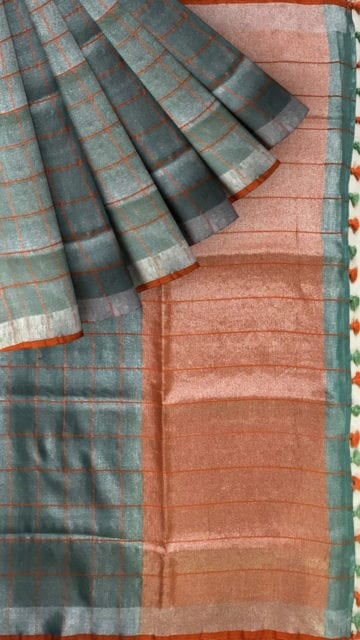 Sea Green checked Tissue Linen Saree Thanksgiving Tissue Linen Sarees Winter Sale Yespoho Sarees New Arrivals