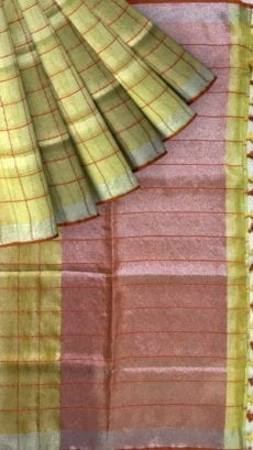 Yellow checked Tissue Linen Saree-yespoho