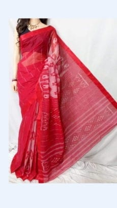 Dark Red Dhanekali Tant Saree-yespoho