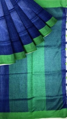 Royal Blue & Green Tissue Linen Saree