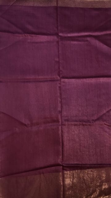 Yespoho Dark Purple Tussar Munga Silk Saree