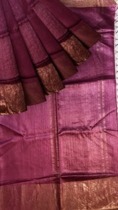Dark Purple Tussar Munga Silk Saree