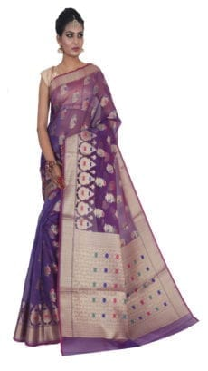 Purple Kora Muslin  Saree-yespoho