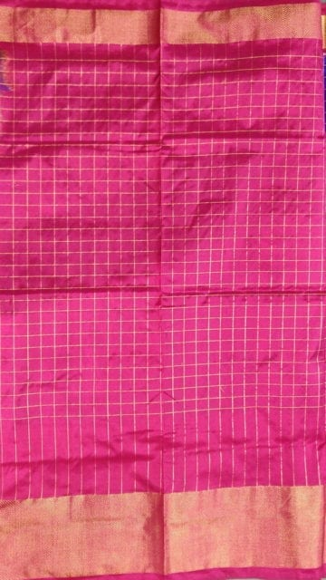 Shop Pochampally Ikkat small Jari checks with elephant border and design pallu Online
