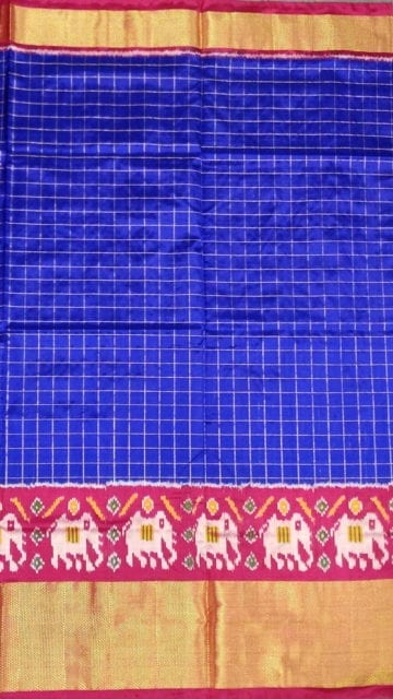 Yespoho Pochampally Ikkat small Jari checks with elephant border and design pallu