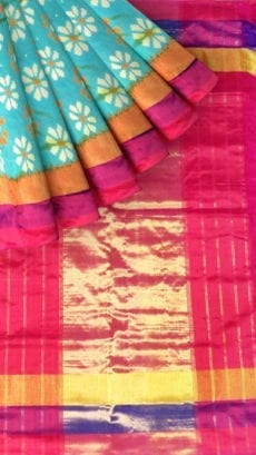 Pochampally Ikkat light Ananda body allover design with tissue border-yespoho