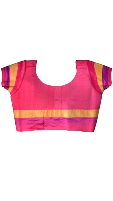 Pochampally Ikkat light Ananda body allover design with tissue border with Unstitched Blouse