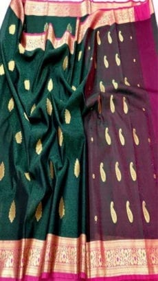 Dark Green Kora Tanchui Saree-yespoho