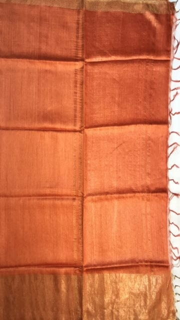 0range Rustic Orange Tussar Munga Silk Saree