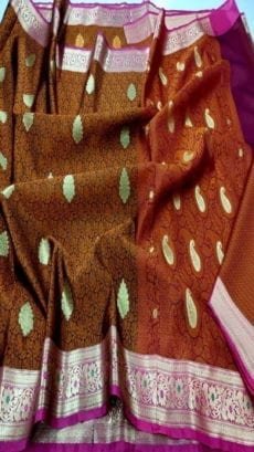 Chocolate Brown Kora Tanchui Saree-yespoho