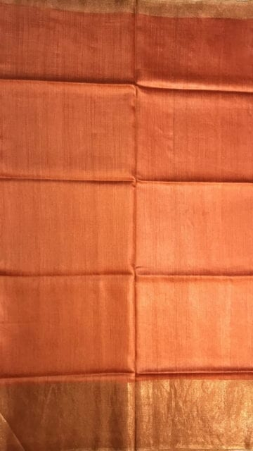 Yespoho Rustic Orange Tussar Munga Silk Saree