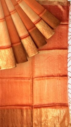 Rustic Orange Tussar Munga Silk Saree