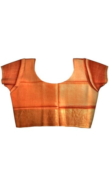 Rustic Orange Tussar Munga Silk Saree with Unstitched Blouse