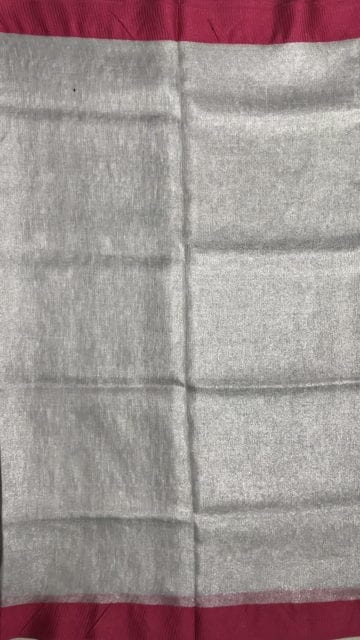 Shop Silver tissue linen with pink border Online
