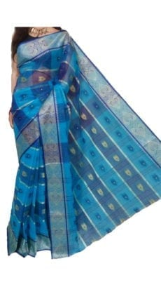 Dark and Light Blue Bengal Tant Cotton Saree-yespoho