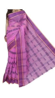 Light Pink Bengal Tant Cotton Saree-yespoho