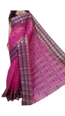 Dark Pink Bengal Tant Cotton Saree-yespoho