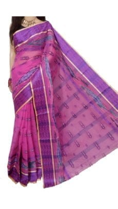 Pink Bengal Tant Cotton Saree-yespoho