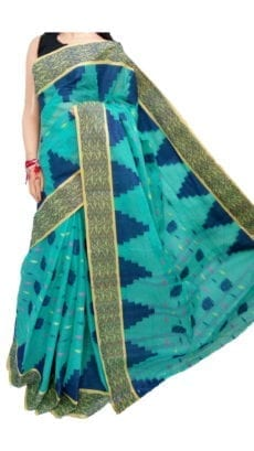 Mint Green Bengal Tant Cotton Saree-yespoho