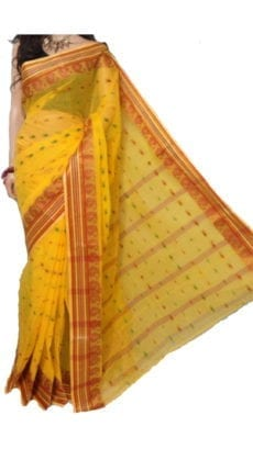Bright Yellow Bengal Tant Cotton Saree-yespoho