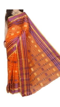 Orange Bengal Tant Cotton Saree-yespoho