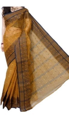 Dark Golden Bengal Tant Cotton Saree-yespoho