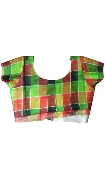 Multi colour checked Linen saree with Unstitched Blouse