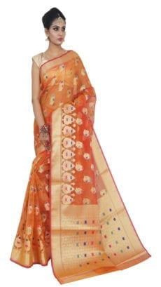 Light Orange Kora Muslin  Sarees-yespoho