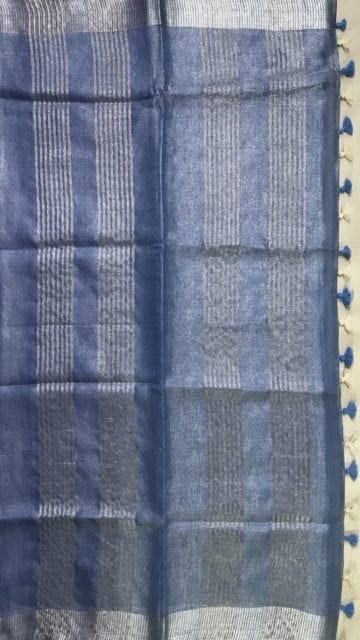 Blue Grey Blue Tissue Linen Saree with Dovi Border
