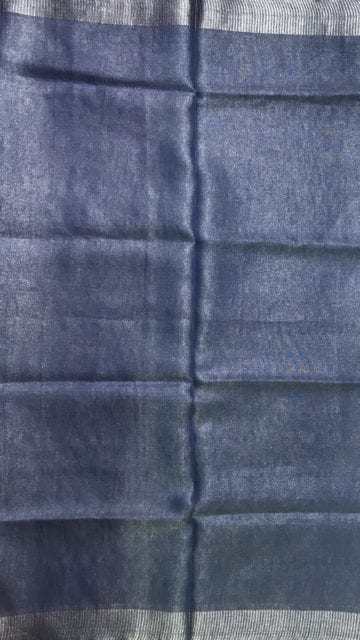 Shop Blue Tissue Linen Saree with Dovi Border Online