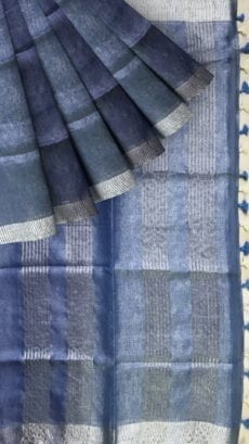 Blue Tissue Linen Saree with Dovi Border-yespoho