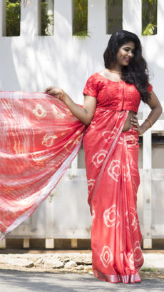 Peach Tye & Dye Cotton Salab Saree-yespoho