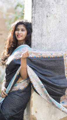 Black Tussar Munga Saree With Madhubani Print-yespoho