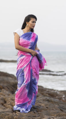 Pink & Purple Tye & Dye Cotton Salab Saree-yespoho