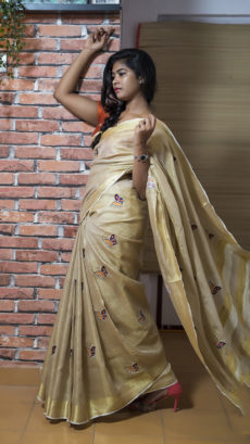 Golden Brown Tissue Linen Saree With Embroidery-yespoho