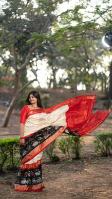 Cream & Orange Pochampally Silk Saree with Ikkat Design-yespoho
