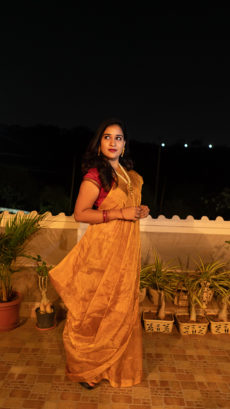 Golden Tissue Uppada Silk Saree-yespoho