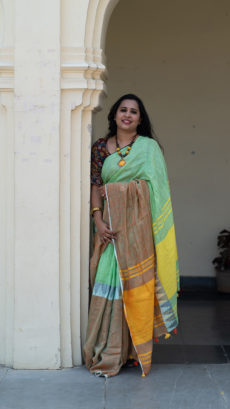 Multi Coloured Half & Half Linen Saree With Temple Border-yespoho