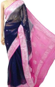 Dark Blue & Baby Pink Chiffon Saree With Banarasi Design-yespoho