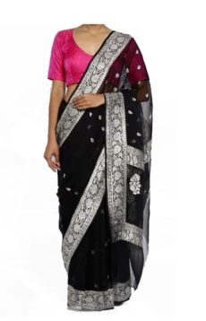 Black Chiffon Saree With Banarasi Design-yespoho
