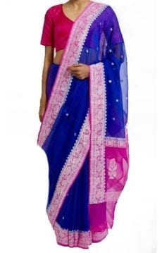 Dark Blue & Pink Chiffon Saree With Banarasi Design-yespoho