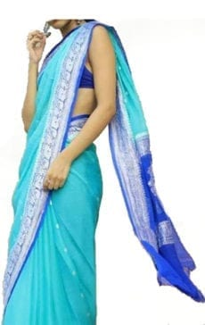 Sky Blue & Dark Blue Chiffon Saree With Banarasi Design-yespoho