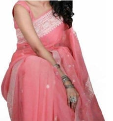Light Peach Chiffon Saree With Banarasi Design-yespoho