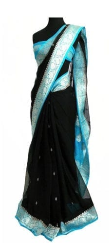 Black & Sky Blue Chiffon Saree With Banarasi Design-yespoho